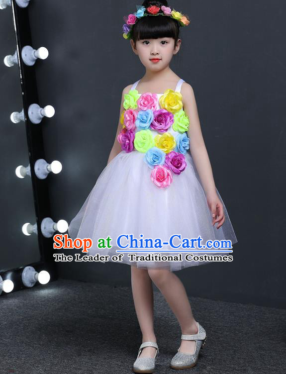 Top Grade Chinese Professional Performance Catwalks Costume, Children Princess Flowers White Veil Dress Modern Dance Clothing for Girls Kids