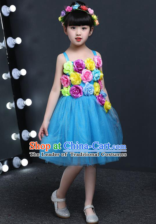 Top Grade Chinese Professional Performance Catwalks Costume, Children Princess Flowers Blue Veil Dress Modern Dance Clothing for Girls Kids