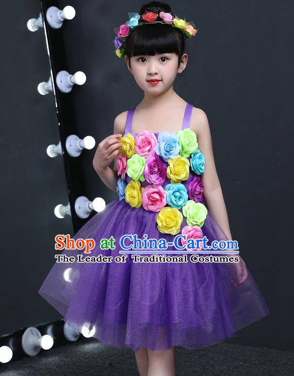 Top Grade Chinese Professional Performance Catwalks Costume, Children Princess Flowers Purple Veil Dress Modern Dance Clothing for Girls Kids