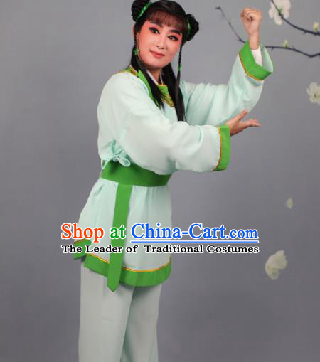 Top Grade Professional Beijing Opera Livehand Green Costume, Traditional Ancient Chinese Peking Opera Lad Boy Book Clothing