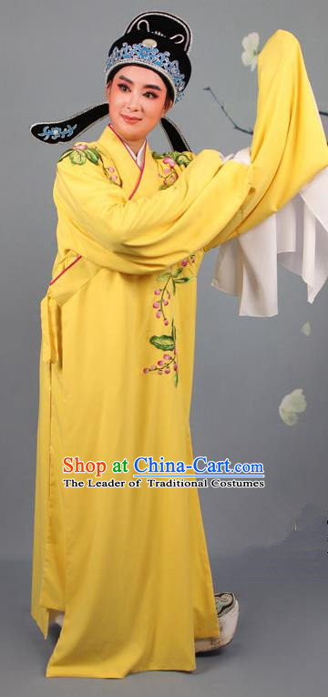 Top Grade Professional Beijing Opera Niche Costume Gifted Scholar Yellow Embroidered Robe and Headwear, Traditional Ancient Chinese Peking Opera Embroidery Peach Blossom Clothing