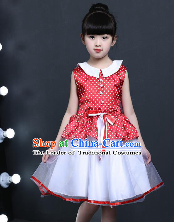 Top Grade Chinese Professional Performance Catwalks Costume, Children Princess Chorus Veil Red Dress Modern Dance Clothing for Girls Kids
