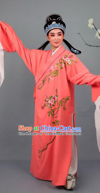 Top Grade Professional Beijing Opera Niche Costume Gifted Scholar Orange Embroidered Robe and Headwear, Traditional Ancient Chinese Peking Opera Embroidery Roses Clothing