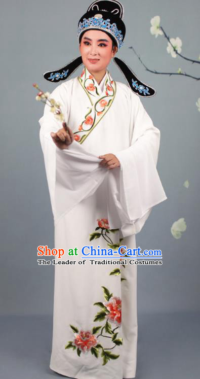 Top Grade Professional Beijing Opera Niche Costume Gifted Scholar Silk Embroidered Robe and Headwear, Traditional Ancient Chinese Peking Opera Embroidery Peony Clothing
