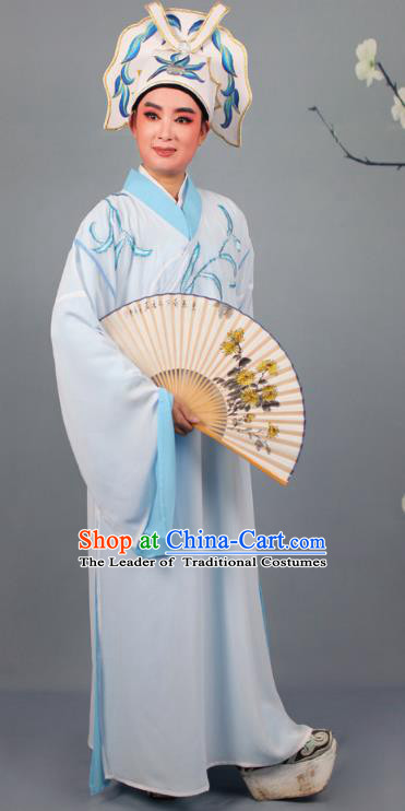 China Beijing Opera Niche Costume Gifted Scholar Embroidered Blue Robe and Headwear, Traditional Ancient Chinese Peking Opera Embroidery Clothing