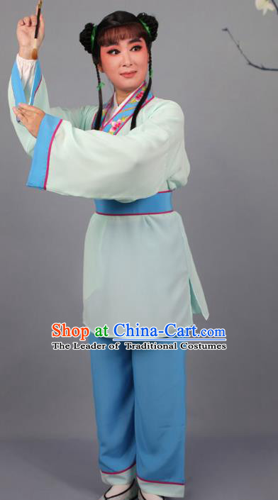 Top Grade Professional Beijing Opera Livehand Blue Costume, Traditional Ancient Chinese Peking Opera Lad Boy Book Clothing