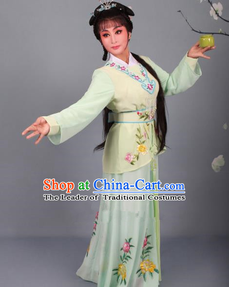 Top Grade Professional Beijing Opera Young Lady Costume Green Embroidered Dress, Traditional Ancient Chinese Peking Opera Maidservants Embroidery Clothing