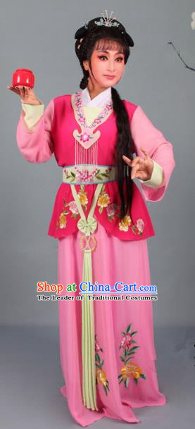 Top Grade Professional Beijing Opera Young Lady Costume Rosy Embroidered Dress, Traditional Ancient Chinese Peking Opera Maidservants Embroidery Clothing