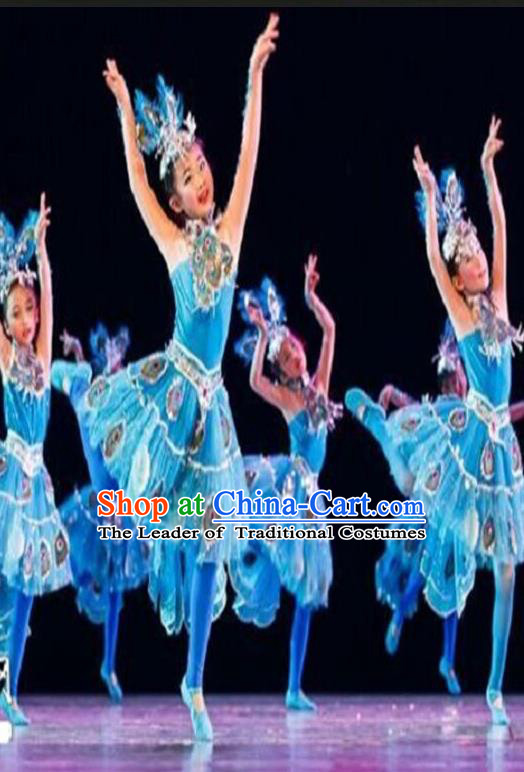 Traditional Indian Classical Dai Nationality Dance Costume, China Peacock Dance Clothing Blue Uniform for Kids