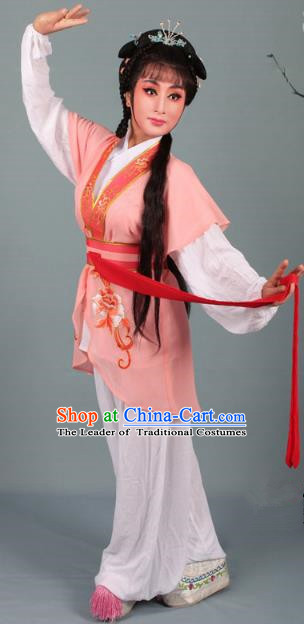 Top Grade Professional Beijing Opera Young Lady Costume Handmaiden Orange Embroidered Suit, Traditional Ancient Chinese Peking Opera Maidservants Embroidery Clothing