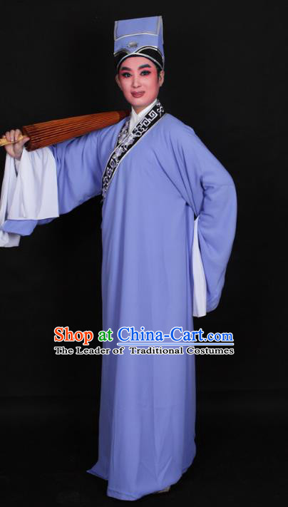 Top Grade Professional Beijing Opera Niche Costume Scholar Blue Robe Priest Frock, Traditional Ancient Chinese Peking Opera Young Men Embroidery Clothing