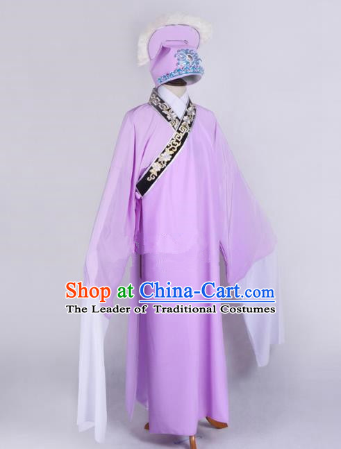 Top Grade Professional Beijing Opera Niche Costume Scholar Pink Robe Priest Frock, Traditional Ancient Chinese Peking Opera Young Men Embroidery Clothing