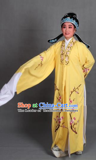 Top Grade Professional Beijing Opera Niche Costume Scholar Yellow Embroidered Robe and Shoes, Traditional Ancient Chinese Peking Opera Young Men Embroidery Plum Blossom Cape Clothing