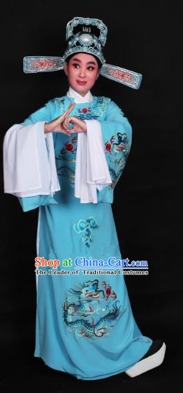 Top Grade Professional Beijing Opera Niche Costume Lang Scholar Blue Embroidered Robe and Hat, Traditional Ancient Chinese Peking Opera Young Men Embroidery Dragons Clothing