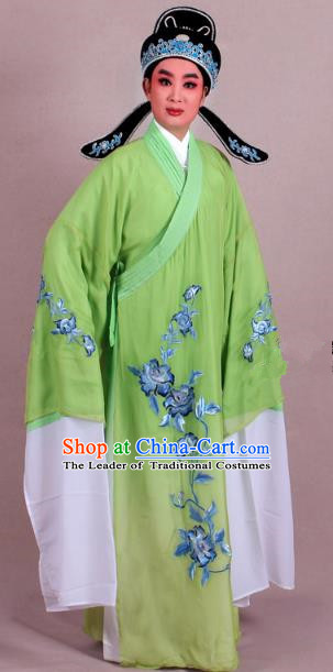 Top Grade Professional Beijing Opera Niche Costume Scholar Green Double-deck Embroidered Robe and Hat, Traditional Ancient Chinese Peking Opera Young Men Embroidery Clothing