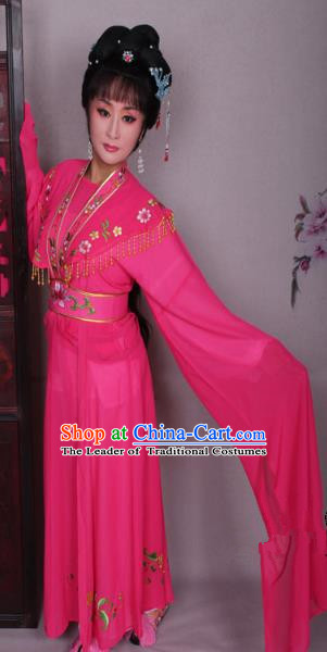 Top Grade Professional Beijing Opera Hua Tan Costume Peach Red Embroidered Dress, Traditional Ancient Chinese Peking Opera Diva Embroidery Clothing