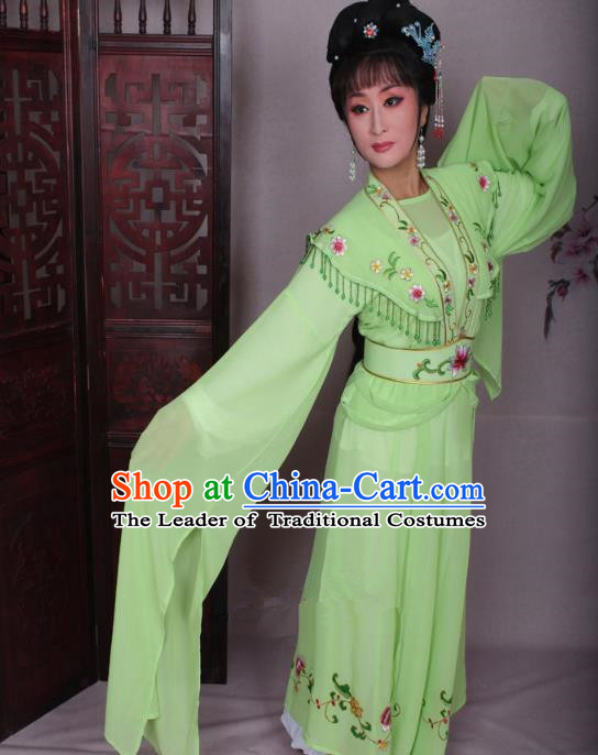 Top Grade Professional Beijing Opera Hua Tan Costume Water Sleeve Green Embroidered Dress, Traditional Ancient Chinese Peking Opera Diva Embroidery Clothing