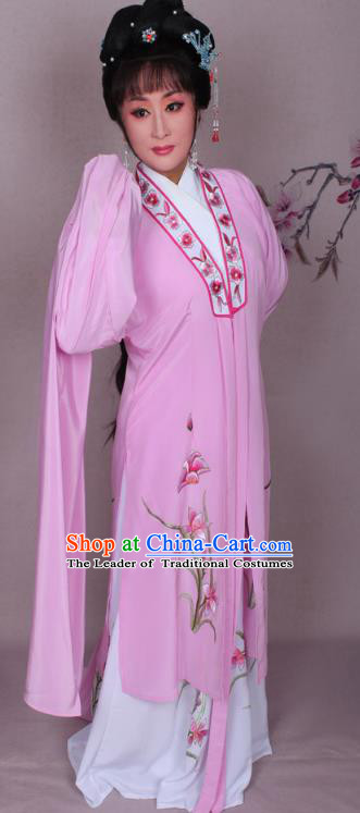 Top Grade Professional Beijing Opera Hua Tan Costume Water Sleeve Pink Embroidered Dress, Traditional Ancient Chinese Peking Opera Diva Embroidery Clothing
