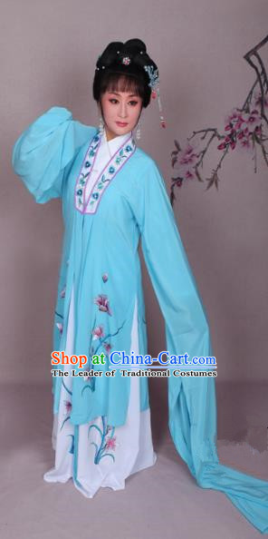 Top Grade Professional Beijing Opera Hua Tan Costume Water Sleeve Blue Embroidered Dress, Traditional Ancient Chinese Peking Opera Diva Embroidery Clothing