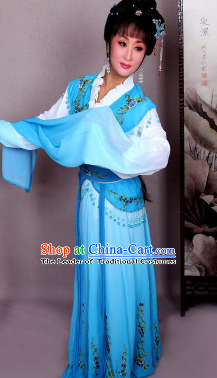 Top Grade Professional Beijing Opera Hua Tan Costume Nobility Lady Blue Embroidered Dress, Traditional Ancient Chinese Peking Opera Diva Embroidery Clothing
