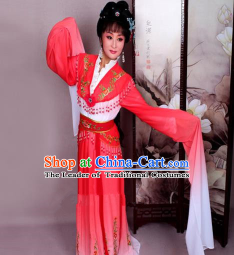 Top Grade Professional Beijing Opera Hua Tan Costume Nobility Lady Red Embroidered Dress, Traditional Ancient Chinese Peking Opera Diva Embroidery Clothing