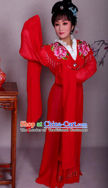 Top Grade Professional Beijing Opera Hua Tan Costume Palace Lady Red Embroidered Peony Dress, Traditional Ancient Chinese Peking Opera Diva Princess Embroidery Clothing