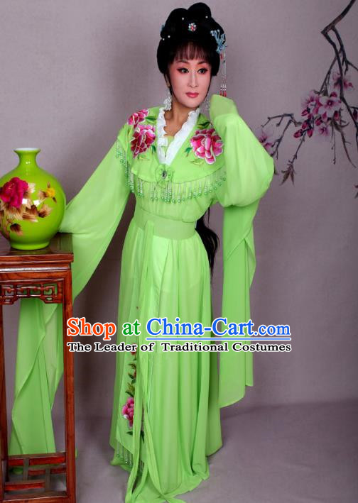 Top Grade Professional Beijing Opera Hua Tan Costume Palace Lady Green Embroidered Peony Dress, Traditional Ancient Chinese Peking Opera Diva Princess Embroidery Clothing