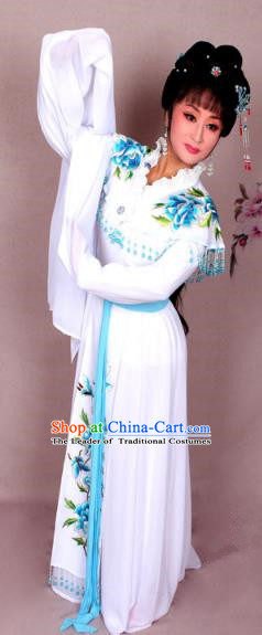Top Grade Professional Beijing Opera Hua Tan Costume Palace Lady White Embroidered Peony Dress, Traditional Ancient Chinese Peking Opera Diva Princess Embroidery Clothing