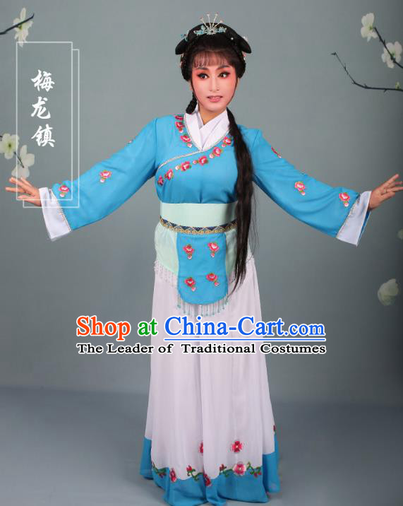 Top Grade Professional Beijing Opera Young Lady Costume Handmaiden Blue Embroidered Dress, Traditional Ancient Chinese Peking Opera Maidservants Embroidery Clothing