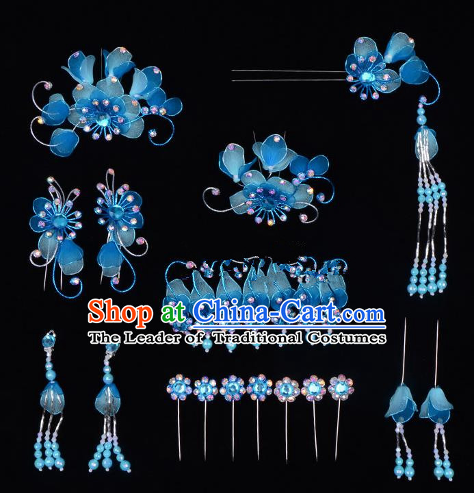 Top Grade Professional Beijing Opera Diva Blue Hair Accessories Complete Set, Traditional Ancient Chinese Peking Opera Tassel Step Shake Hua Tan Hairpins Headwear