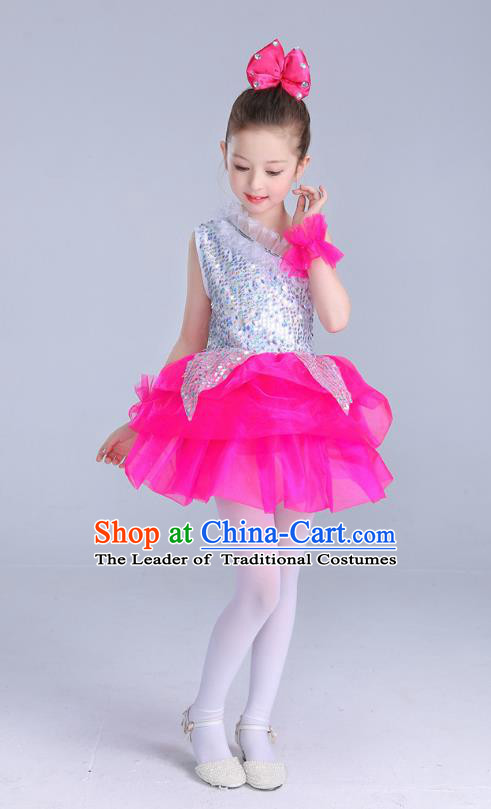 Top Grade Chinese Professional Performance Catwalks Costume, Children Princess Bubble Rosy Full Dress Modern Dance Paillette Dress for Girls Kids