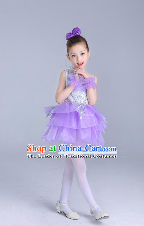 Top Grade Chinese Professional Performance Catwalks Costume, Children Princess Bubble Lilac Full Dress Modern Dance Paillette Dress for Girls Kids