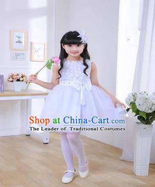 Top Grade Chinese Professional Performance Chorus Catwalks Costume, Children White Veil Bubble Full Dress Modern Dance Dress for Girls Kids
