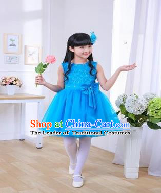 Top Grade Chinese Professional Performance Chorus Catwalks Costume, Children Blue Veil Bubble Full Dress Modern Dance Dress for Girls Kids