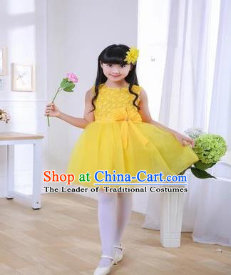 Top Grade Chinese Professional Performance Chorus Catwalks Costume, Children Yellow Veil Bubble Full Dress Modern Dance Dress for Girls Kids
