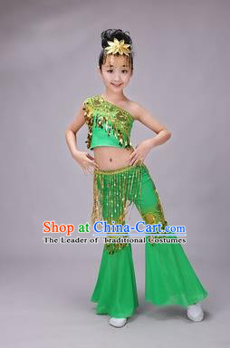Traditional Chinese Dai Nationality Peacock Dance Costume, Children Folk Dance Ethnic Costume, Chinese Minority Nationality Dance Green Dress for Kids