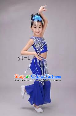 Traditional Chinese Dai Nationality Peacock Dance Costume, Children Folk Dance Ethnic Costume, Chinese Minority Nationality Dance Royalblue Dress for Kids