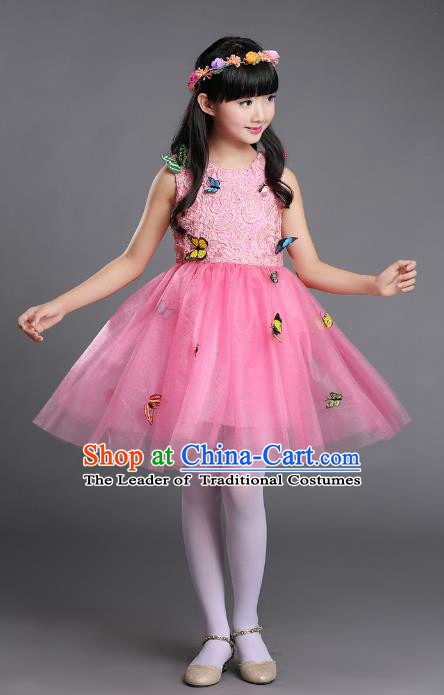 Top Grade Chinese Professional Performance Chorus Catwalks Costume, Children Pink Veil Bubble Butterfly Full Dress Modern Dance Dress for Girls Kids