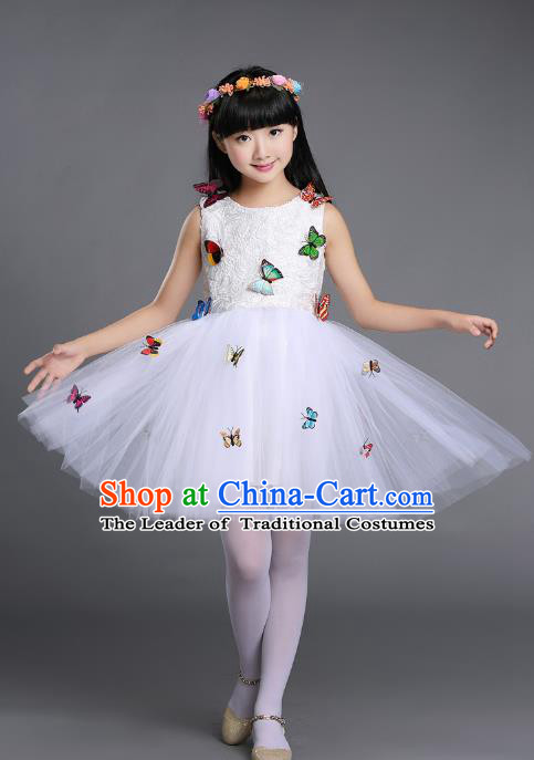 Top Grade Chinese Professional Performance Chorus Catwalks Costume, Children White Veil Bubble Butterfly Full Dress Modern Dance Dress for Girls Kids