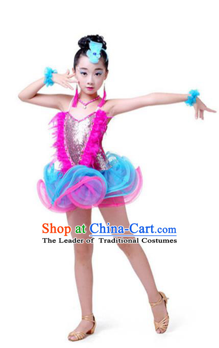 Top Grade Chinese Compere Professional Performance Catwalks Costume, Children Latin Dance Tassel Uniform Modern Dance Rosy Clothing for Girls Kids