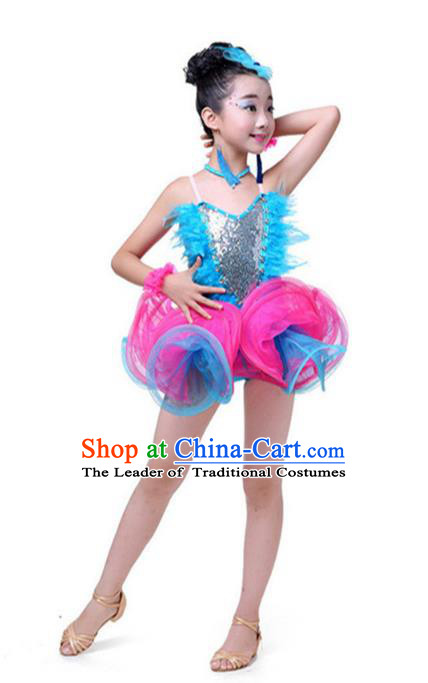 Top Grade Chinese Compere Professional Performance Catwalks Costume, Children Latin Dance Tassel Uniform Modern Dance Blue Clothing for Girls Kids