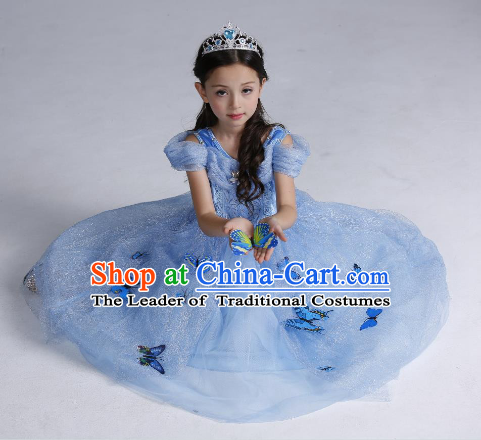 Top Grade Chinese Compere Professional Performance Catwalks Costume, Children Butterfly Princess Veil Dress Modern Dance Clothing for Girls Kids