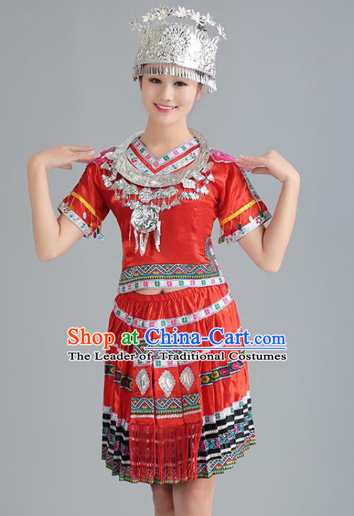 Traditional Chinese Miao Nationality Dance Costume, Hmong Female Folk Dance Ethnic Red Pleated Skirt, Chinese Minority Nationality Embroidery Clothing for Women