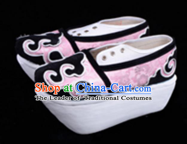 Top Grade Professional Beijing Opera Niche Pink Shoes, Traditional Ancient Chinese Peking Opera Young Men Flange Shoes