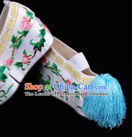 Top Grade Professional Beijing Opera Hua Tan Embroidered White Shoes, Traditional Ancient Chinese Peking Opera Diva Princess Blood Stained Shoes