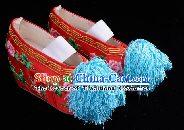 Top Grade Professional Beijing Opera Hua Tan Embroidered Red Shoes, Traditional Ancient Chinese Peking Opera Diva Princess Blood Stained Shoes