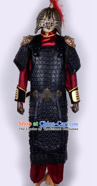 Traditional China Beijing Opera Takefu General Corselet Costume and Headwear Complete Set, Ancient Chinese Peking Opera Wu-Sheng Military Officer Warrior Armour Clothing