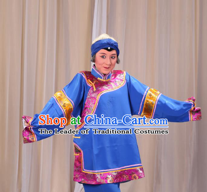 Top Grade Professional Beijing Opera Old Women Costume Pantaloon Embroidered Blue Clothing, Traditional Ancient Chinese Peking Opera Matchmakers Embroidery Clothing