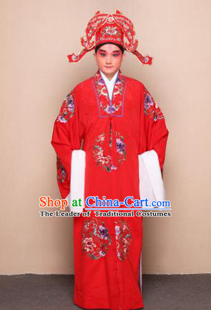 Top Grade Professional Beijing Opera Niche Costume Lang Scholar Red Embroidered Robe and Headwear, Traditional Ancient Chinese Peking Opera Groom Embroidery Clothing