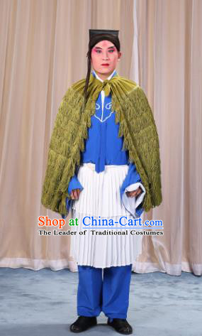 Traditional China Beijing Opera Master Keung Costume Green Straw Rain Cape, Ancient Chinese Peking Opera Wu-Sheng Coir Raincoat Clothing